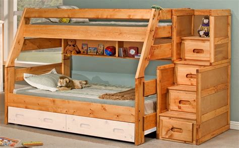 Pine Bunk Beds With Stairs Rustic Style Solid Pine Bunk Bed With Stairway Chest Cinnamon 3544720 4754