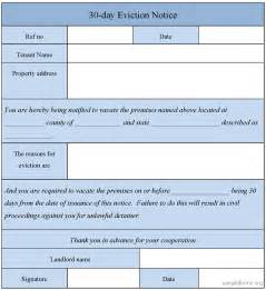 30 day eviction notice template 30 day eviction notice form sle 30 day eviction notice
