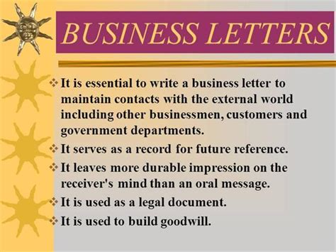business letter ppt business letters authorstream