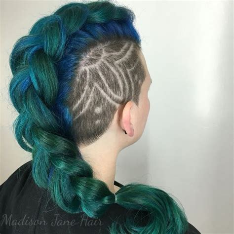 mohawk shaved designs mohawks mermaids and teal blue on pinterest