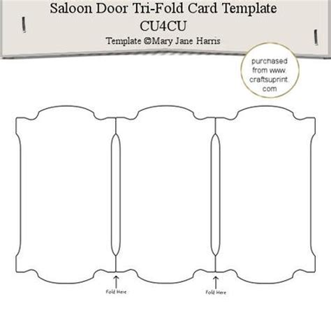 two fold card template saloon door tri fold card template 1 cu4cu cup291565