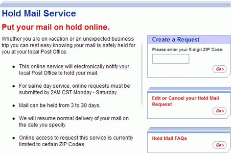postal service site lets anyone hold your mail cnet