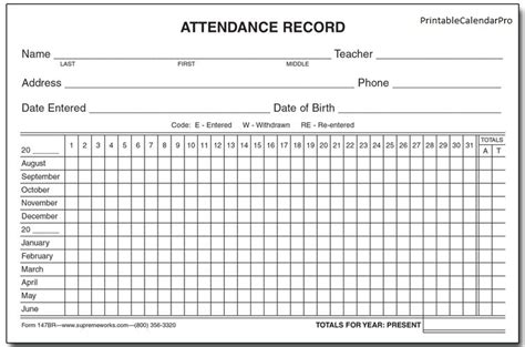 employee attendance record template 2017 templates