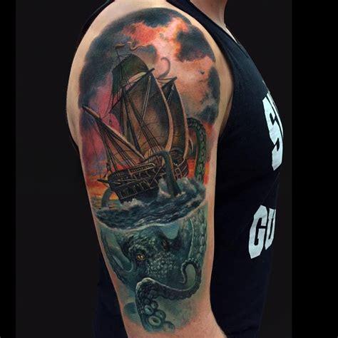 ship sleeve tattoo designs 41 octopus tattoos on half sleeve