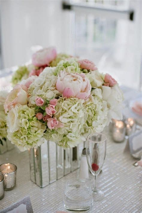 6 diy peony rose and hydrangea centerpieces for 50 real weddings blush and sparkle seaside romance