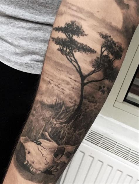 black and grey landscape tattoos black gray savannah landscape tattoo inkstylemag