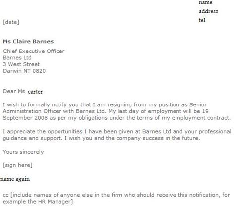 formal resignation letter exles forums learnist org