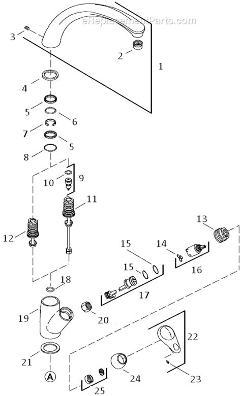 kohler kitchen faucet parts diagram kohler k 6356 parts list and diagram ereplacementparts