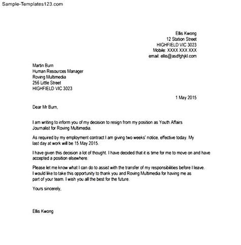 letter of resignation with notice sle notice letter of resignation sle templates
