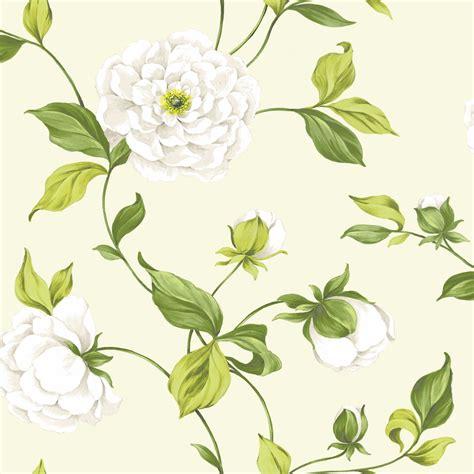 colours camelia cream green floral mica effect wallpaper departments diy  bq