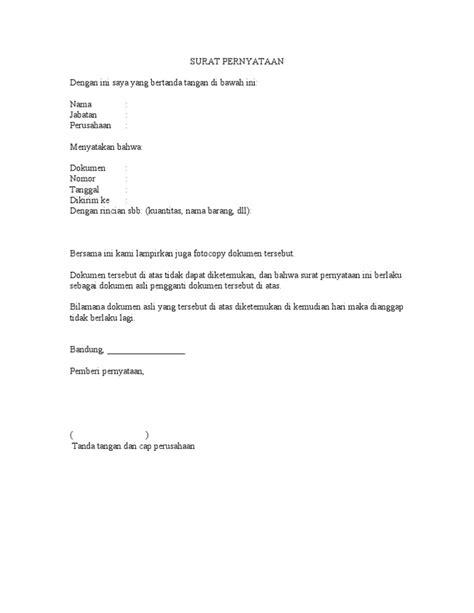format surat pernyataan kehilangan askes surat pernyataan kehilangan dokumen asli
