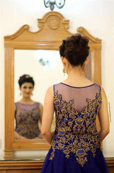 Gown Hairstyles by Indian Engagement Gown Blue Dress Bridal Hairstyle