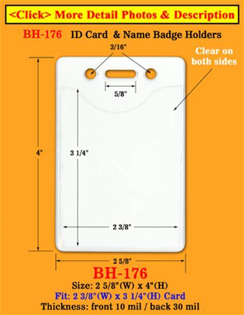 id card design and size heavy duty vertical identification card holder 2 3 8 quot w x