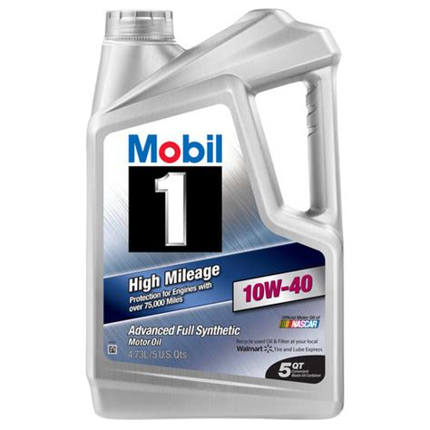 mobil one motorcycle mobil 1 10w 40 high mileage synthetic motor 5 qt