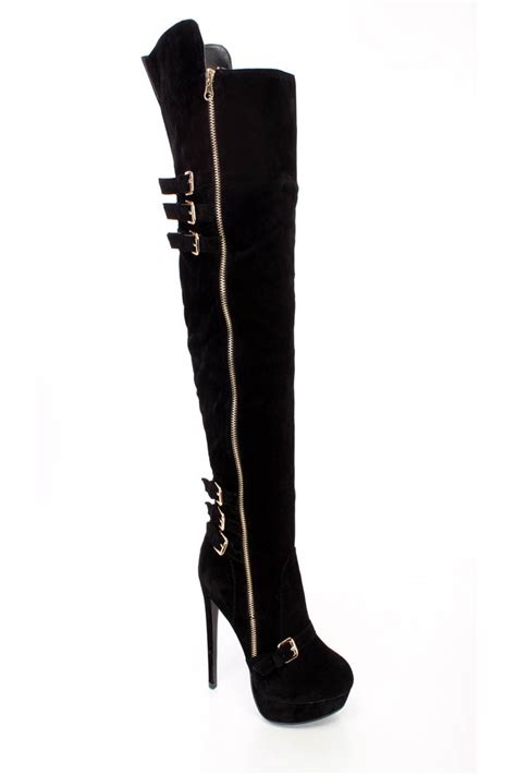 black buckle accents fall thigh high heel boots faux