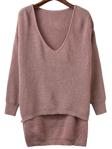 Stewartbrown Plunging V Neck Sweater by Light Brown V Neck High Low Knitwearfor Romwe