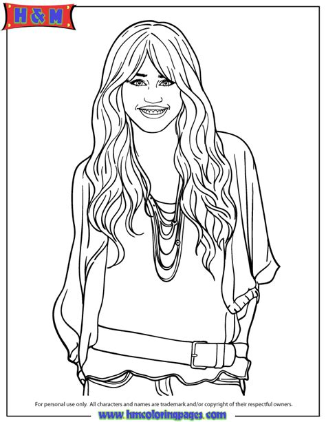 hannah montanna free colouring pages