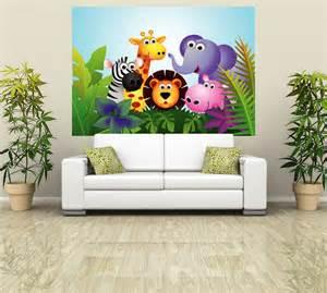 cartoon wall murals self adhesive wall mural photo print quot kids jungle scene
