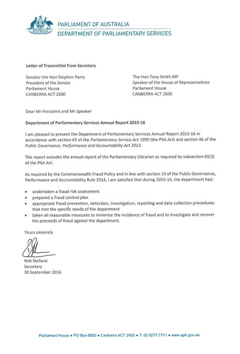 Transmittal Letter Parts letters of transmittal parliament of australia