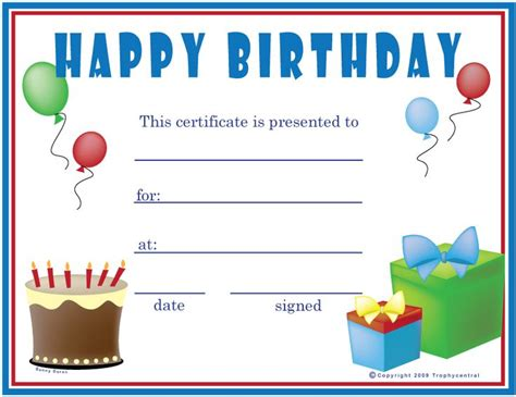 gift certificate template free printable birthday boy certificate happy birthday free