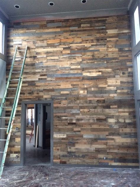 reclaimed wood wall paneling sustainable lumber company recycled pallet wall panels from sustainable lumber co