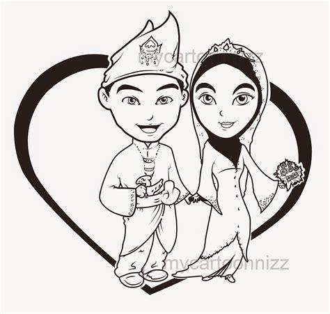 trend terbaru gambar pengantin kartun muslimah hitam