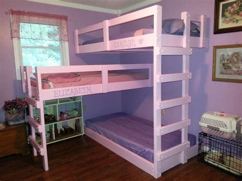 3 Level Bunk Bed White Wooden Three Level Bunk Beds For Small Rooms And Brown Stuff For Room
