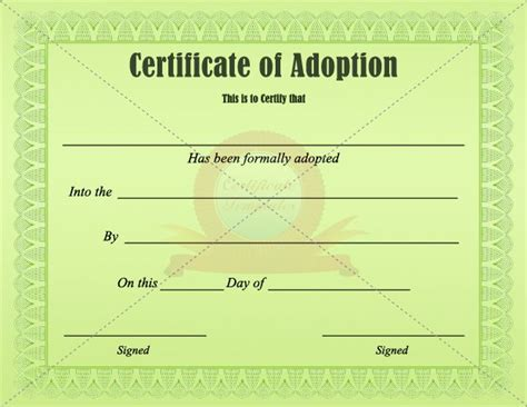 adoption certificate adoption certificate templates