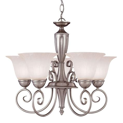 Illumine 5 Light Pewter Chandelier With White Candle Candle Covers For Chandeliers