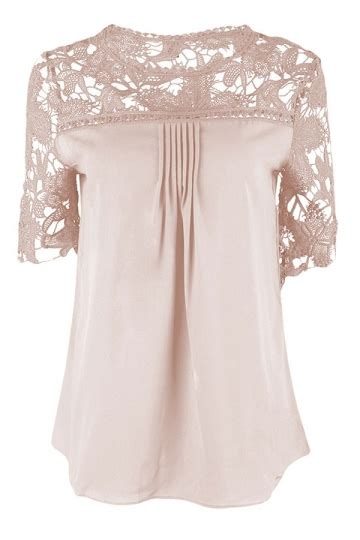 womens sexy plain lace splicing short sleeve blouse pink pink queen