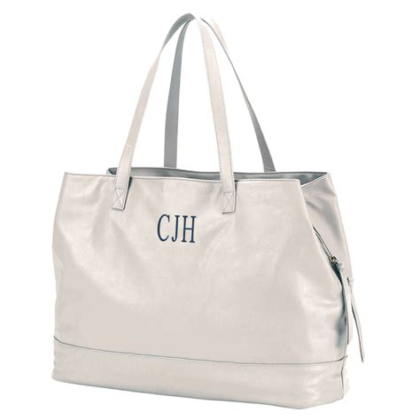 vegan leather tote bag monogram