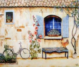wonderful French Country Backsplash #1: french-country-house-kitchen-tile-mural-backsplash-24x20-artist-Linda-Paul-1000.jpg