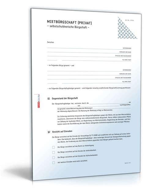Vorlage Kündigung Wohnung Ohne Mietvertrag Selbstschuldnerische Mietb 252 Rgschaft Muster Zum
