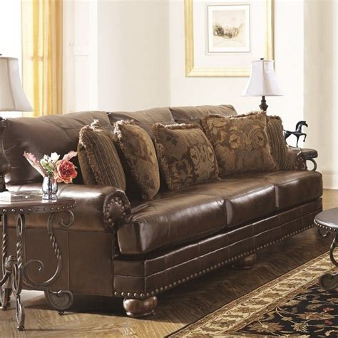 ashleyfurniture sofas furniture chaling leather sofa in antique 9920038