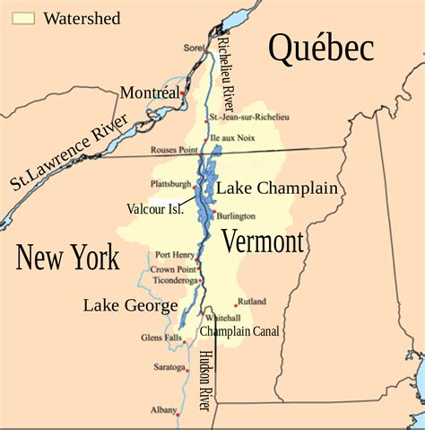map of vermont and new york lake chlain