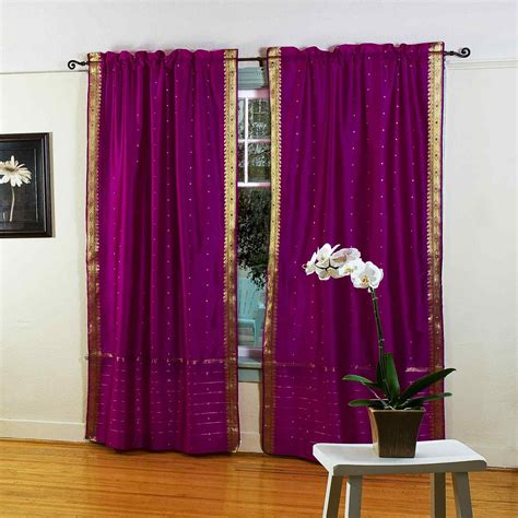 Violet Red Rod Pocket Sheer Sari Curtain Drape Panel
