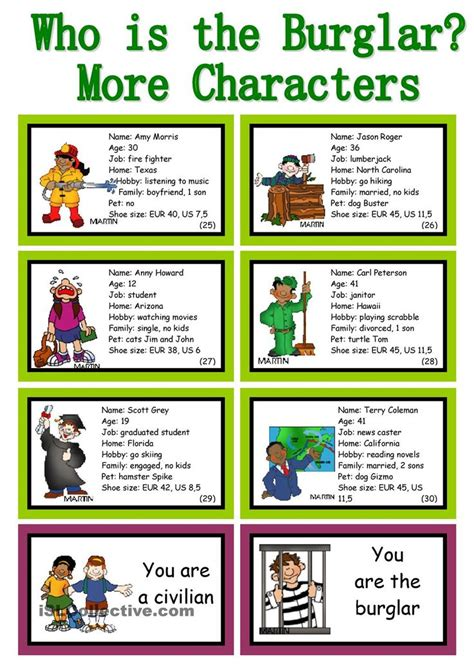 english themes for speaking who is the burglar 30 conversation cards roleplay