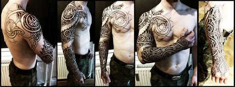 nordic wyrm and geometry sleeve wip by meatshop tattoo on