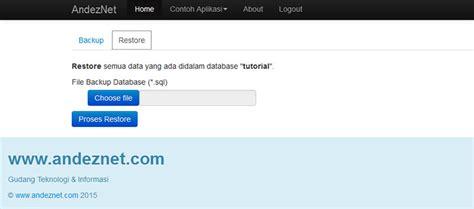 tutorial php bootstrap membuat backup dan restore mysql database di php bootstrap