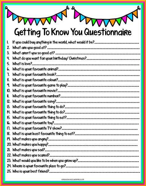 get to know you questionnaire