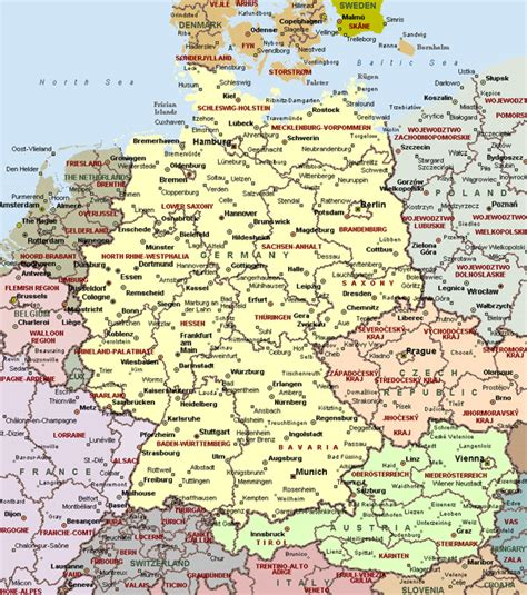 map of germany and cities cities of germany on detailed map detailed map of cities of germany vidiani maps of all