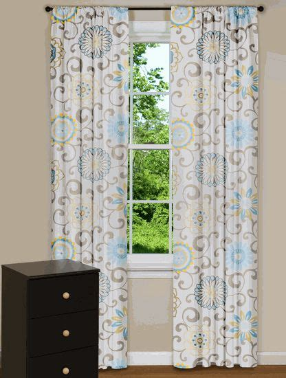 yellow blue curtains modern floral curtain panels drapes spa blue yellow