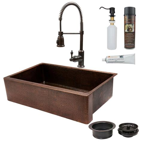 Undermount Copper Kitchen Sinks Premier Copper Products All In One Undermount Copper 35 In 0 Single Basin Kitchen Sink In