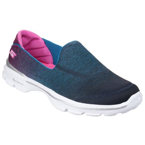 Skechers Go Walk 3 by Skechers Go Walk 3 Aura S Blue Pink Shoes Free