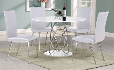 White Gloss Dining Table Set White High Gloss Dining Table 4 Chairs Homegenies