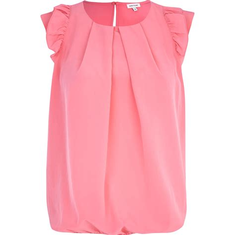 lyst river island pink ruffle sleeve hem top in pink