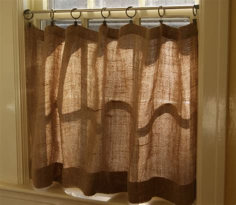 How To Make Burlap Valance how to make burlap cafe curtains guest post the prairie homestead