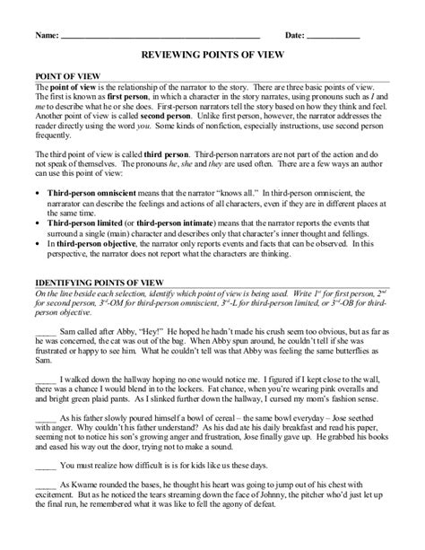 Point Of View Worksheet by Point Of View Review Worksheet