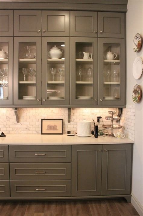 Grey Kitchen Cabinets With White Countertops by Grey Cabinets Marble Subway Tile And White Countertops