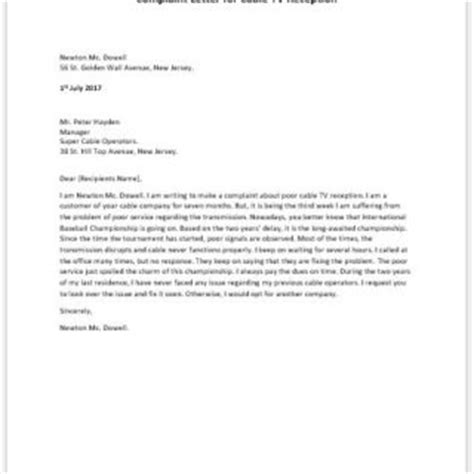 Complaint Letter Cable Company Formal Official And Professional Letter Templates Part 3